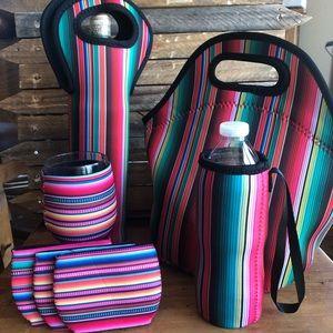Handbags - Serape Wine, Lunch Tote Wine & Wine Glass Koozies